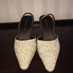 Bronze beaded heels